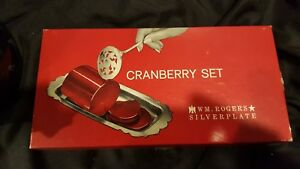 Vintage Wm Rogers Silver Plated Cranberry Set Server 7 Tray 10 X 5 W Box