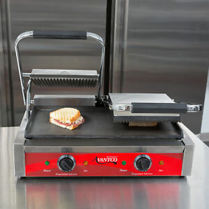 Cast Iron Panini Press Machine Commercial Sandwich Toaster Hot Large Grill Maker