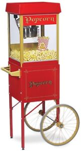 Gold Funpop Popcorn Popper Medal Machine 4 Oz Cart New Adjustable Feet Red New