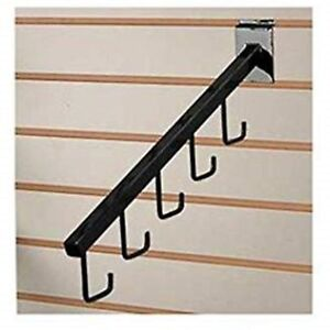Only Hangers 5 Hook Slatwall Waterfall Black Pack Of 24