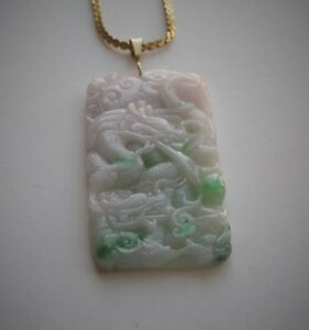 Vintage Fine Chinese Carved Dragon Green White Jade Pendant 25 5 Grams