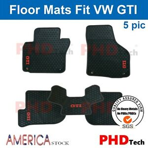 Premium Quality Vw Gti Mk6 Tailor Made All Weather Rubber Floor Mats Red Trim