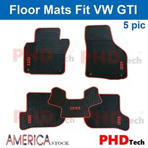 Premium Quality Vw Gti Mk5 Tailor Made All Weather Rubber Floor Mats Red Trim