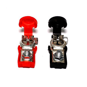 Battery Terminal W Red Black Plastic Cover Dual Set Of Auto Positive Negative