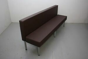 84 Upholstered Single Booth Brown Silver Powder coated Freestanding Metal Base
