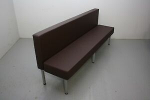 96 Upholstered Single Booth Brown Silver Powder coated Freestanding Metal Base
