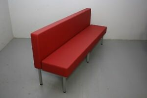 96 Upholstered Single Booth Red W Silver Powder coated Freestanding Metal Base