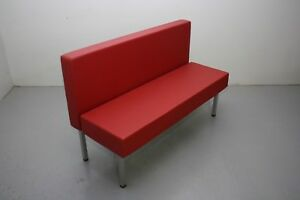 54 Upholstered Single Booth Red W Silver Powder coated Freestanding Metal Base