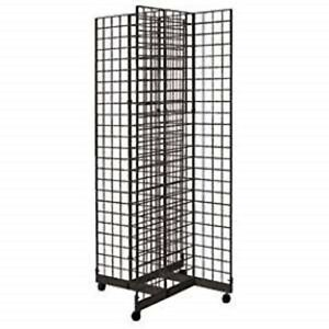 2 X 6 4 way Gridwall Display Fixture With Rolling Base Black