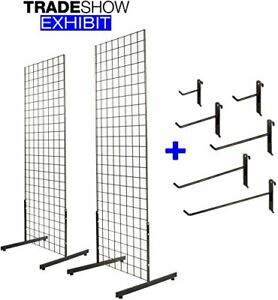 2 X 6 Gridwall Panel Tower With T base Display Kit 2 pack Black W 40 Hooks
