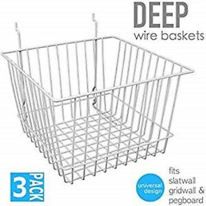 Only Hangers Deep Wire Baskets For Gridwall Slatwall And Pegboard White 3pk