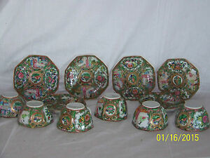 Chinese Rose Medallion Antique C1800 S 8 Sided Tea Cups Saucer Set For 6