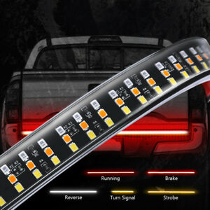60 led Tailgate Light Bar Triple Row White Reverse Red Brake Running Lamp Truck