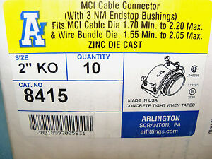 Arlington 8415 Mci Cable Connectors With 3 Nm Endstop Bushings Case Of 10