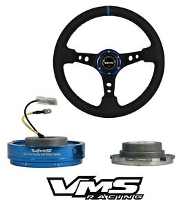 Vms Racing Blue Leather 350mm Steering Wheel Quick Release For Mitsubishi