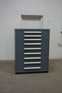 Used Vidmar 9 Drawer Cabinet Industrial Tool Storage 45 Wide 1289 Cabinets