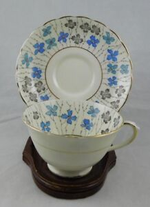 Plant Tuscan Blue Floral Hand Painted Tea Cup And Saucer