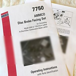 Ammco 7750 Drum Brake Lathe To Disc Rotor Conversion Operating Parts Manual