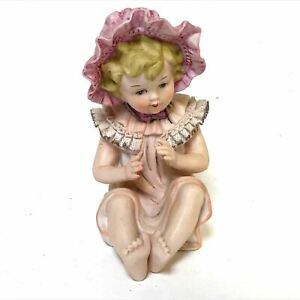 7 Bisque Baby Piano Girl Figurine