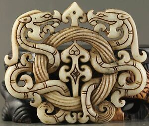 How Old Chinese Natural Jade Hand Carved Statue Of Double Dragon Pendant