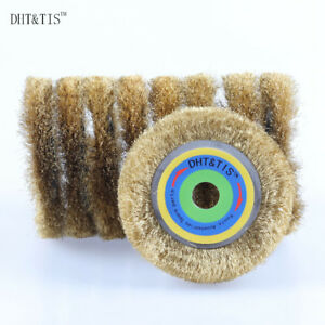 10pieces 4inch Brass Wire Brush For Metal Derusting Wood Grinding Angle Grinder