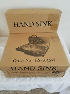 Ace Wall Mount Stainless Steel Hand Sink With No Lead Faucet And Strainer Nib