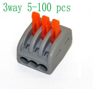 3 Way Reusable Spring Lever Terminal Block Electric Cable Wire Connector