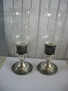 Pr International Wild Rose Sterling Silver Candle Holders W Etched Hurricanes