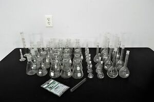 Lab Glass Assortment Of Erlenmeyer Flasks Gradient Cylinder Kjeldahl Flask