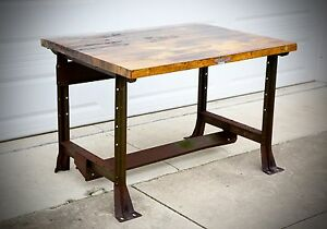 Vintage Hallowell Industrial Wood Drafting Table Work Bench Kitchen Island Green