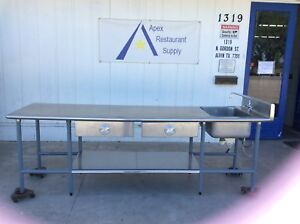 Stainless Steel Work prep Table W drawers Sink And Shelf 2979
