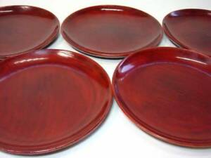 Five Pieces Of Old Lacquerware Dishes Lacquer Plate Naka Wooden Ems F S