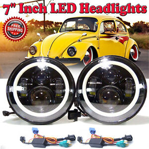 2x 7 Inch Led H4 H Lo Headlight For Jk Vw Beetle Classic Chevy Pickup Truck 3100