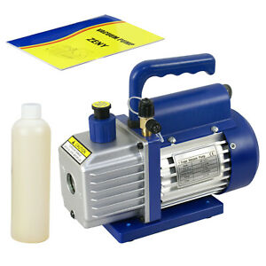 3 5cfm 1 stage Pump Rotary Vane Deep Vacuum Ac Hvac 1 3hp W free Oil Bottle