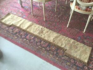 Antique Victorian Hand Sewn Curtain Valance Brocade Tapestry With Fringe