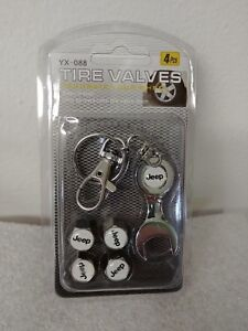Car Wheel Tire Valve Stem Air Caps Emblem Key Chain Chrome For Jeep