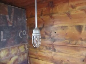 Vintage Crouse Hinds Explosion Proof Light Fixture Industrial Pendant Cage Lamp