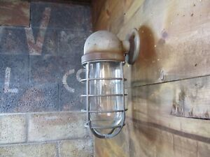 Huge Vtg Crouse Hinds Explosion Proof Wall Sconce Light Fixture Industrial Cage