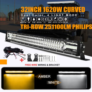 Quad Row 32inch 2520w Curved Led Light Bar Combo Offroad Jeep Ford Truck Atv 36