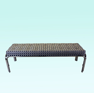 Vintage Chrome Brocade Bench Mid Century Bench Chrome Bench Long Bench