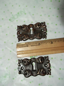 2 Matching Unpolished Brass Victorian Escutcheon Keyhole Covers Free S H