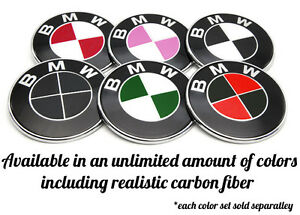 Bmw Emblem Overlay Sticker Decal Fits Hood Trunk Wheels Steering Wheel Set