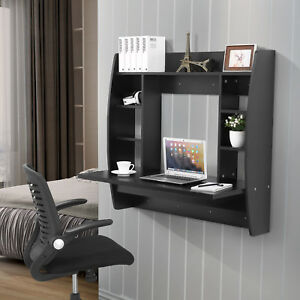 Mecor Black Floating Wall Mounted Office Computer Desk Home Table With Storage