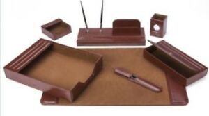 7 Pc Leather Desk Set Home Office Table Accessory Decor Organizer Stand Brown