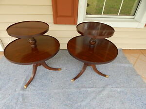 Matching Pair 2 Tiered Round Mahogany Wood Tables Side End Accent