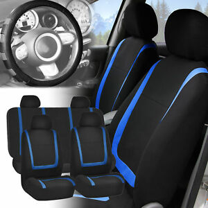 Car Seat Covers Blue Black Full Set For Auto W gray Leather Steering Wheel