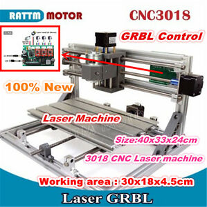 3 Axis Diy Mini 3018 Grbl Control Cnc Router Kit Engraving Milling Laser Machine