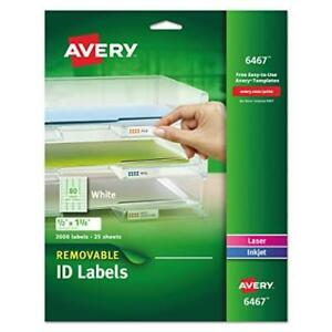 Avery Self adhesive White Removable Laser Id Labels 1 2 X 1 3 4 2000 Per New
