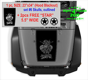 0031 Hood Blackout Outlined 2 Free star Decals Graphic Jeep Wrangler Rubicon
