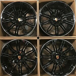 22 Porsche Cayenne S Turbo Gts 2018 19 Hybrid Wheels Rims Glossy Black Set 4 Oem